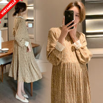 Dress VSETAMELLE Picture color M,L,XL,XXL Long sleeves Medium length spring stand collar polyester fiber VS-85410