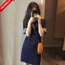 Dress other dark blue Japanese  elbow sleeve Medium length summer Solid color nylon