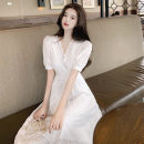 Dress Spring 2021 white S M L longuette singleton  Short sleeve commute V-neck High waist Solid color A-line skirt puff sleeve 18-24 years old Homltiaml / hancho Korean version Hollowing out GBUC88948 More than 95% other Other 100% Pure e-commerce (online only)