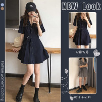 Dress Spring 2021 Navy skirt grey skirt S M L XL Short skirt singleton  Short sleeve commute Polo collar High waist Solid color A-line skirt routine 18-24 years old Homltiaml / hancho Korean version More than 95% other Other 100% Pure e-commerce (online only)