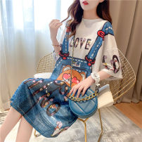 Dress Summer 2020 blue M L XL XXL Mid length dress singleton  Short sleeve commute Crew neck Cartoon animation Socket routine 18-24 years old Dress painting Korean version printing kj292 81% (inclusive) - 90% (inclusive) other polyester fiber Pure e-commerce (online only)