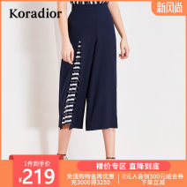 Casual pants blue S M L XL XXL Summer of 2019 Cropped Trousers Wide leg pants Natural waist commute routine 30-34 years old 96% and above Koradior / coretti other Simplicity Polyester 100%