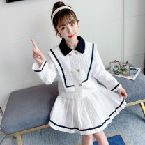 suit Other / other white 110cm,120cm,130cm,140cm,150cm,160cm female spring and autumn college Long sleeve + skirt 2 pieces routine There are models in the real shooting double-breasted nothing Solid color cotton children Giving presents at school Class B Other 100% Chinese Mainland Zhejiang Province