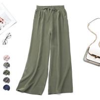 Casual pants Average size Summer of 2019 Ninth pants Wide leg pants Natural waist Versatile Thin money 96% and above Nine silkworms silk silk
