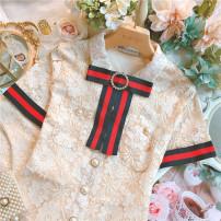 Dress Summer 2021 Black, apricot S,M,L Short skirt singleton  Short sleeve commute Polo collar High waist Socket A-line skirt routine 25-29 years old Retro Lace