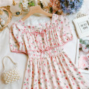 Dress Summer 2021 Yellow, coffee, pink Average size longuette singleton  Short sleeve Sweet square neck High waist Broken flowers other other routine Others 25-29 years old Type A Frenulum 30% and below Chiffon Mori