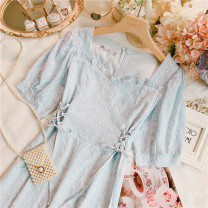 Dress Summer 2021 Blue, white Average size Short skirt singleton  Short sleeve Sweet square neck High waist Dot Socket other routine Others 25-29 years old Type A 30% and below other solar system
