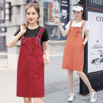 Dress Summer 2020 Red two-piece set, deep Khaki two-piece set, light Khaki two-piece set, black two-piece set, orange two-piece set S,M,L,XL Mid length dress Two piece set Short sleeve commute straps 18-24 years old Type H CINISIOR Retro