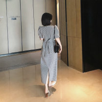 Dress Summer 2020 black S, M Mid length dress singleton  Short sleeve commute V-neck High waist lattice Socket A-line skirt puff sleeve Korean version cotton
