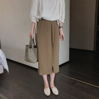 skirt Summer 2020 S,M,L Black, Khaki Mid length dress Versatile Natural waist Irregular Solid color Type A