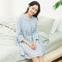 Nightdress Other / other Pink grid B, pink grid C, blue grid B, gray grid C 160(M),165(L) Simplicity three quarter sleeve Leisure home Middle-skirt summer lattice V-neck cotton More than 95% Double layer cotton yarn