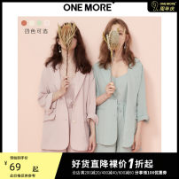 short coat Summer of 2019 XS S M Long sleeves routine routine Three piece set Straight cylinder commute routine tailored collar Single breasted Solid color 25-29 years old one more 96% and above Button polyester fiber Polyester 100%