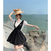 Dress Summer 2021 Shirt, suspender, skirt S. M, average size Short skirt Two piece set Sleeveless commute Solid color Socket other camisole 18-24 years old 81% (inclusive) - 90% (inclusive)