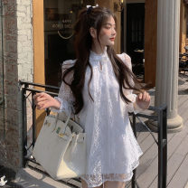Dress Summer 2021 white S, M Short skirt singleton  Long sleeves commute stand collar 18-24 years old Korean version 81% (inclusive) - 90% (inclusive)