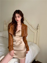 Dress Summer 2021 Leather coat and skirt S, M Short skirt Two piece set Sleeveless commute Solid color A-line skirt 18-24 years old Type A Korean version 81% (inclusive) - 90% (inclusive)