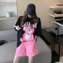 T-shirt Pink bear, black T, pink shorts Average size Spring 2021 Long sleeves Crew neck easy Medium length routine commute other 71% (inclusive) - 85% (inclusive) 18-24 years old Korean version