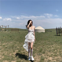 Dress Autumn 2020 Blue denim jacket, white lace skirt S, M Short skirt singleton  commute High waist Solid color A-line skirt 18-24 years old Type A Other / other Korean version 81% (inclusive) - 90% (inclusive)