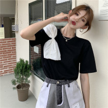 T-shirt White, black Average size Summer 2021 Short sleeve Crew neck easy Regular commute other 71% (inclusive) - 85% (inclusive) 18-24 years old Korean version