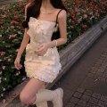 skirt Summer 2021 Average size Bowknot bra, short skirt with ear edge Short skirt commute 18-24 years old 81% (inclusive) - 90% (inclusive) polyester fiber Korean version