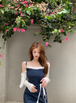 Dress Summer 2021 White sunscreen, denim blue suspender skirt m, denim blue suspender skirt s Average size Short skirt Two piece set Sleeveless commute square neck High waist Solid color Socket other camisole 18-24 years old 81% (inclusive) - 90% (inclusive)