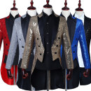 man 's suit Youth fashion Silver White Red Gold Black Sapphire Blue Others routine S M L XL 2XL 3XL XZYW-05 Self cultivation Triple double breasted banquet Back middle slit youth Long sleeves Four seasons Medium length Youthful vigor Formal dress Baling collar Slant hem