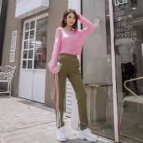 Casual pants Olive green (pants) pink (top) S M L XL Autumn of 2018 trousers Pencil pants Natural waist street routine 25-29 years old 51% (inclusive) - 70% (inclusive) Flourishing tide Viscose fiber (viscose fiber) 59.7% polyester fiber 35.5% polyurethane elastic fiber (spandex) 4.8%