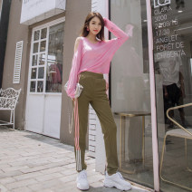 Casual pants Olive green (pants) pink (top) S M L XL Autumn of 2018 trousers Pencil pants Natural waist street routine 25-29 years old 51% (inclusive) - 70% (inclusive) Flourishing tide Viscose fiber (viscose fiber) 59.7% polyester fiber 35.5% polyurethane elastic fiber (spandex) 4.8%