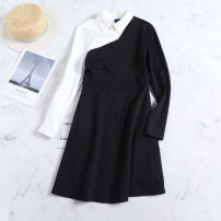 Dress Autumn 2020 black S. M, l, print with words, live room Mid length dress singleton  Long sleeves street Polo collar middle-waisted Solid color A button other routine Others 25-29 years old Type X Other / other Splicing, asymmetry, resin fixation, swallow tail, 3D 1020-K40 other cotton