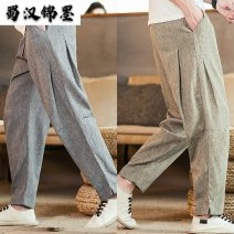 Casual pants Others Youth fashion M,L,XL,2XL,3XL,4XL,5XL thin trousers Other leisure easy No bullet summer youth Chinese style 2019 Medium low back Polyester 76% cotton 18% flax 6% Pocket decoration washing Solid color other other