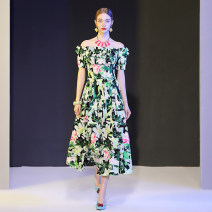 Dress Summer of 2019 green S,M,L,XL longuette singleton  Short sleeve street One word collar middle-waisted zipper Big swing routine Others DIDABOLE printing 51% (inclusive) - 70% (inclusive) Europe and America