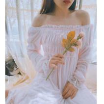 Nightdress Night's Lure light pink 155(S) 160(M) 165(L) Sweet longuette spring Spring 2021 Cotton 95.3% polyurethane elastic fiber (spandex) 4.7%