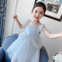 Dress White, blue [in stock] female Huibeier 110cm,120cm,130cm,140cm,150cm Other 100% summer princess Short sleeve Solid color other Splicing style Class B Chinese Mainland Guangdong Province