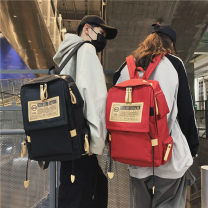 Backpack canvas brand new large Zipper buckle leisure time Double root Japan and South Korea soft youth no Soft handle Solid color Yes neutral Water splashing prevention Vertical square Mobile phone pocket, computer pocket polyester fiber Sewing yes 15 inches Three dimensional bag