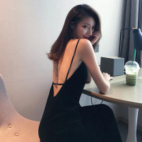 Dress Summer 2021 black S M L XL longuette singleton  Sleeveless commute V-neck High waist Solid color Socket A-line skirt routine camisole 25-29 years old Type A Looking for green Korean version Splicing 99368659-04630 More than 95% other other Other 100% Pure e-commerce (online only)