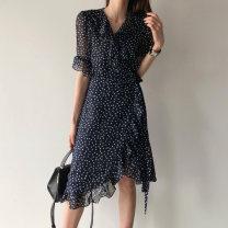 Dress Summer 2021 Navy Blue S,M,L Mid length dress singleton  Short sleeve commute V-neck High waist Decor other Lotus leaf sleeve Others Type A Korean version 71% (inclusive) - 80% (inclusive)