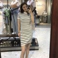 Dress Autumn of 2019 white S (80-95 kg), m (96-120 kg), l (121-145 kg) Mid length dress singleton  Short sleeve commute Crew neck Loose waist stripe Socket other routine Others 25-29 years old Type H Korean version Striped skirt 71% (inclusive) - 80% (inclusive) knitting other