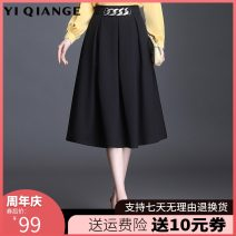 skirt Spring 2021 M L XL 2XL 3XL 4XL black Mid length dress commute High waist A-line skirt Solid color Type A 25-29 years old YQGA10866 Wool According to shallow case zipper Korean version Pure e-commerce (online only)