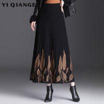 skirt Autumn 2020 Average size black Mid length dress commute High waist A-line skirt Decor Type A 25-29 years old YQGA4564 According to shallow case fold Korean version Pure e-commerce (online only)
