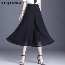 Casual pants black M L XL 2XL 3XL 4XL Spring 2021 trousers Wide leg pants High waist commute Thin money 25-29 years old YQGA10893 According to shallow case polyester fiber Korean version pocket polyester fiber Other polyester 95% 5% Pure e-commerce (online only)