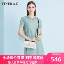 Dress Summer of 2019 Light green 155/36/S 160/38/M 165/40/L 170/42/XL 175/44/XXL 180/46/XXXL Middle-skirt singleton  Short sleeve commute Hood Loose waist Solid color Socket A-line skirt routine 30-34 years old Type H Sound Ol style 8C39206080 30% and below nylon