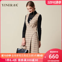 Dress Wool 100% Same model in shopping malls (both online and offline) More than 95% wool Britain 8C38305010 Medium length skirt Sleeveless Autumn of 2018 Single breasted singleton  V-neck commute High waist lattice other A-line skirt 30-34 years old Type A Button Other Sound