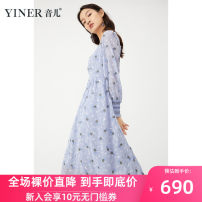 Dress Spring 2021 blue 36 38 40 42 44 46 Mid length dress Long sleeves Crew neck middle-waisted zipper A-line skirt puff sleeve 30-34 years old Type A Sound 3D More than 95% Chiffon polyester fiber Polyester 100% Pure e-commerce (online only)