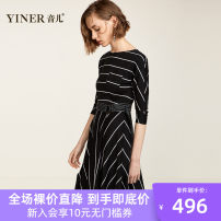 Dress Spring of 2019 black and white 155/36/S 160/38/M 165/40/L 170/42/XL 175/44/XXL 180/46/XXXL Mid length dress singleton  Nine point sleeve commute Crew neck High waist stripe Socket A-line skirt routine 30-34 years old Type X Sound More than 95% cotton