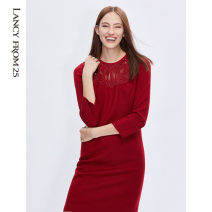 Dress Winter of 2019 gules 155/76A/S 160/80A/M 165/84A/L 170/88A/XL 175/92A/XXL Middle-skirt singleton  Long sleeves commute Crew neck High waist Solid color zipper One pace skirt routine Others 35-39 years old Lance from 25 Ol style Nail bead More than 95% wool Wool 100%
