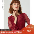 Dress Autumn of 2019 claret 155/76A/S 160/80A/M 165/84A/L 170/88A/XL 175/92A/XXL Short skirt singleton  three quarter sleeve Crew neck High waist Solid color Socket A-line skirt pagoda sleeve 25-29 years old Type A Limeflare / Rhein Freire Lace LDPB83347 More than 95% other other Other 100%