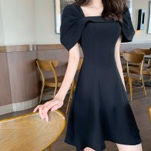 Dress Summer 2021 White, black S,M,L Short skirt singleton  Short sleeve commute square neck High waist Solid color Socket A-line skirt Flying sleeve Others Type A Korean version More than 95% other other