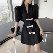 Dress Summer 2021 White, black, pink S, M Short skirt singleton  Short sleeve commute tailored collar High waist Solid color Single breasted A-line skirt puff sleeve Others Type X Korean version More than 95% other other