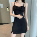 Dress Summer 2021 Black suit, white suit, white dress, black dress S, M Two piece set Sleeveless commute square neck High waist Solid color Socket One pace skirt other Others Type A More than 95% other other