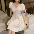 Dress Summer 2021 White, purple Average size Middle-skirt singleton  Short sleeve commute One word collar High waist Solid color Socket A-line skirt puff sleeve Others Type A Korean version More than 95% other other