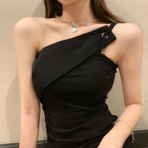 Dress Summer 2021 black S,M,L Short skirt singleton  Short sleeve commute square neck High waist Solid color Socket One pace skirt other Hanging neck style Type A Korean version More than 95% other other